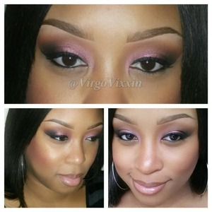 Cranberry, brownscript and carbon on eyes , cork lip liner, viva glam 2 lipstick and prrr lipglass on lips, skin is prep and prime visage and C7 studio fix powder, cheeks is love joy with blunt blush with golden bronze loose powder to highlight. Spiked brows