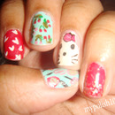 Acrylic Paint Hello Kitty Nails