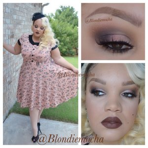 """Follow me @Blondiemocha on Instagram for more looks!!  I began by using Urban Decay eyeshadow primer as a base.   Eyes -  Outré (Mac Cosmetics, crease) Beware (Urban Decay, crease, LE, Theodora Palette) Broken (Urban Decay, inner and middle lid, LE, Theodora Palette) Eyeshadow 12 (Inglot, middle and outer lid) Carbon (Mac Cosmetics, outer v and slightly in crease)  Brows - Anastasia Beverly Hill Brow Wiz in Soft Brown.   Lashes - Noir Fairy for the top lashes, and Precious for the bottom lashes by Houseoflashes  Lips - Salem Velveteen by Limecrimemakeup (LOVE IT!!)   Clothing -  Outfit is from Modcloth Shoes - Nine West Hat - Years old, but I see these all the time on Etsy. Just search for """"fascinator"""" or """"pill box hat""""."""