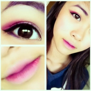 A bright pink eye, purple eyebrows, and an ombre lip.
