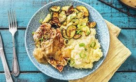 Herbed Chicken Cutlets with Creamy Mashed Potatoes & Roasted Zucchini | Hello Fresh Recipe