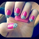 zebra nails with pink base