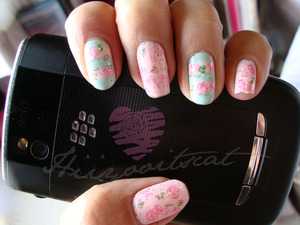 I love this look!! It's one of my favorite looks I have done to my nails.  Mint and pink what a beautiful combination.