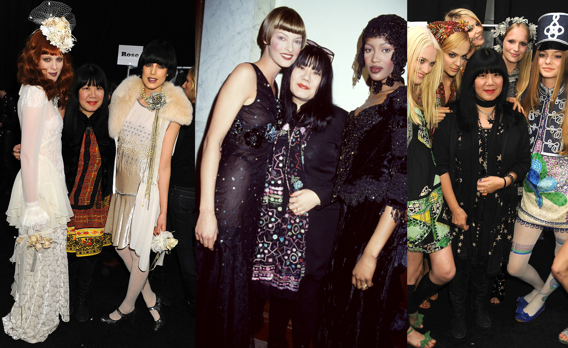 Left: Anna Sui Fall 2010 Fashion Show | Photo: Jennifer Graylock; Center: Anna Sui Fall 1993 Fashion Show | Photo: Roxanne Lowit; Right: Backstage at Anna Sui Spring 2010 Circus Collection | Photo: Jessica Graylock