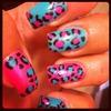 blue-green pink leopard print
