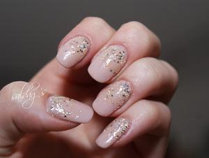 Beige gel nails with H&M's glitter polish & OPI's Pure whitegold polish.