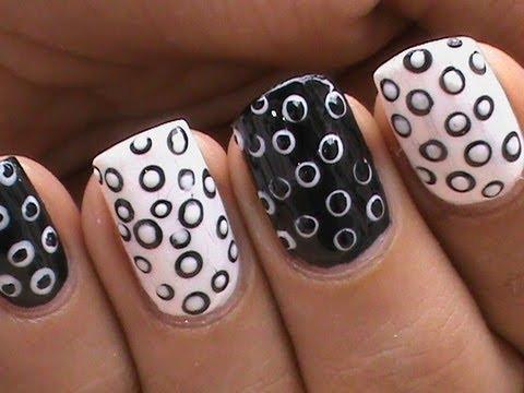 Black And White Nail Art designs,Waves of Nails Polish Cute