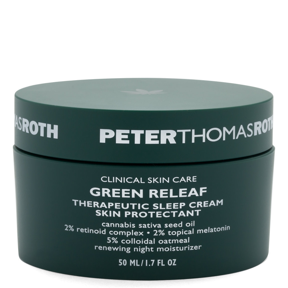 Peter Thomas Roth Green Releaf Therapeutic Sleep Cream product swatch.