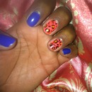 grrrowl leopard and blue nails