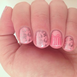 Stamped using the BundleMonster holiday set and Essie Nothing Else Metals over OPI Pink Friday.