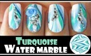 TURQUOISE WATER MARBLE NAIL ART DESIGN FOR SPRING | GREEN BLUE TUTORIAL BEGINNERS EASY FIMO FLOWER