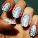 Glitter + White Polish  Nails