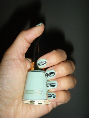 Revlon's Minted polish with OPI's shattered straight down the middle.