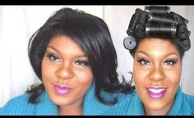 NATURAL HAIR | Va Va Voom Silk Wrap W/ Black Rods | Jessibaby901