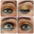 Mint Green and Gold Eye Look