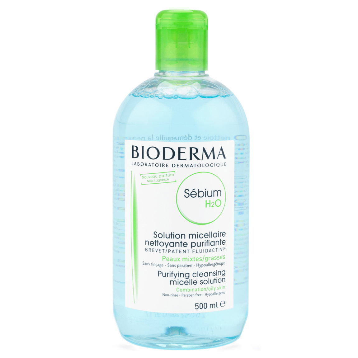 Bioderma Sébium H2O 500 ml product smear.