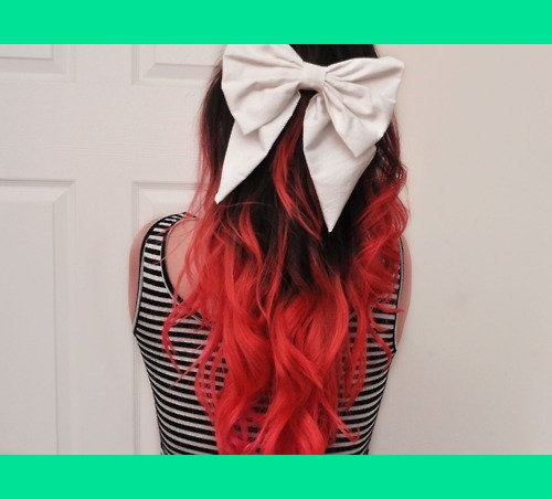 Red Dyed Ombre Hair With White Bow Veronica E S
