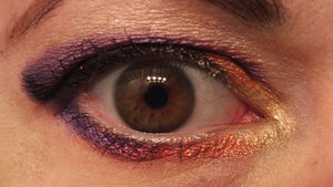 Inner corner gold is by Flirt (Kohls) brand. Next to it the red is Addicted by BFTE. The purple is Ultra Violet by Stars Makeup Haven.