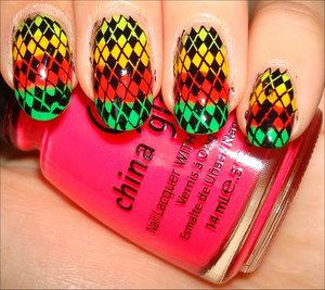 Neon Rainbow Argyle Nails Nail tutorial & more photos here: http://www.swatchandlearn.com/nail-art-tutorial-neon-rainbow-argyle-konadicure-using-konad-image-plate-m60/