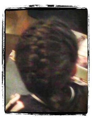 French braid-back view