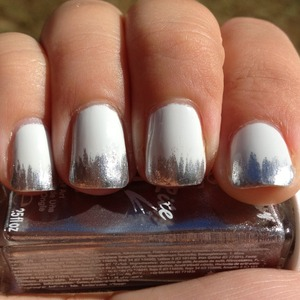 Base is My Bf Scales Walls. Just use a striper to haphazardly add vertical strokes to make up the tip.  Http://polishmeplease.wordpress.com