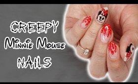 Creepy Minnie Mouse Nails   Halloween Nails 2017 ♡