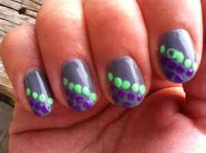 Dot design with Fashion Colours  Mint Green Violet  Grey