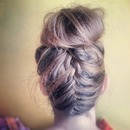 upside-down french braided bun ;)