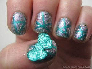 Base of NYC East Village with China Glaze Full Spectrum on top. A bowknot from Born Pretty Store on thumb!
