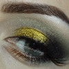 Golden and black makeup