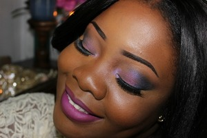 "Love these pigments from Coastal Scents on my lids. ""Exotic Plum"" and ""Aquatica"". Mac ""Heroine"" on my lips."