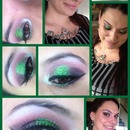 green glitter and purple eyes