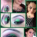 green glitter and purple eyes