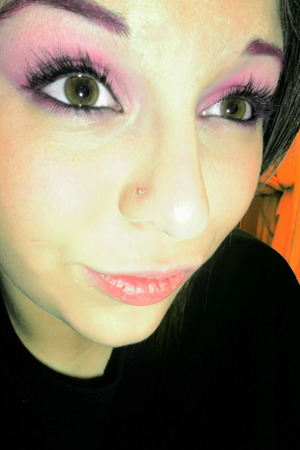 vibrant pink eye, with hot pink eyebrows