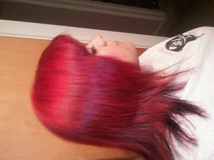 She went from black to red! Bleach washed and left some peekaboos. Looks great. I love what I do :)