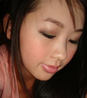 Brown eye shadow, Green eyeliner&& Black eye liner over♥