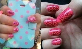 NAV   Pink & Black Fishnet Lace Nail Stamping Art Tutorial