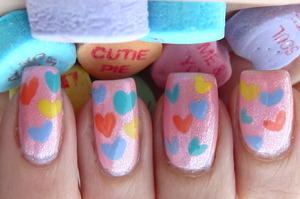 Conversation Hearts Manicure (see video for tutorial!)