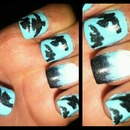blue ombre with birds!