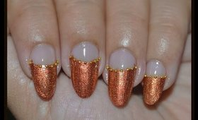 Easy Nail Art for Prom ~ Copper Nails with Gold Beads
