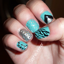 Animal Print Cross Blue & Silver Nails