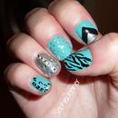 Animal Print Cross Blue & Silver Nails