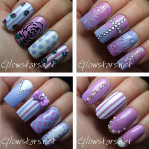 For more nail art, pics of these manis and products used visit http://Glowstars.net