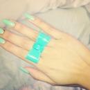 Coral nails + bow