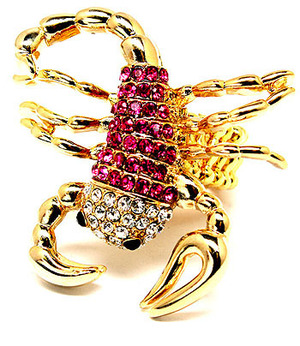 Pink Crystal Stone Gold Scorpoin Ring