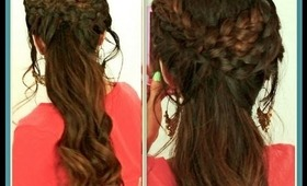★HAIR TUTORIAL: CUTE HAIRSTYLES WITH GRECIAN BRAID FOR MEDIUM LONG HAIR |BRAIDED CURLY PONYTAIL UPDO