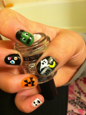 Jackolantern, skull, Frankenstein, eyes, dark ghost and graveyard