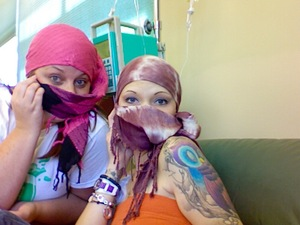 haha I love my bestie. Playin around during chemo