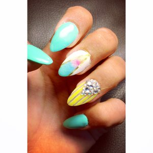 Vibrant colorful ombre design summer nails (not polish)