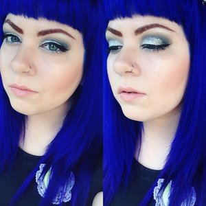 """This is the look I wore to see Hedwig and the Angry Inch on Broadway. :)  Hair is Special Effects """"Electric Blue"""" mixed with a bit of """"Wildflower""""."""